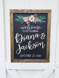 Hand painted florals custom wedding chalkboard