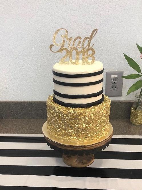 Striped Sequin Graduation Cake