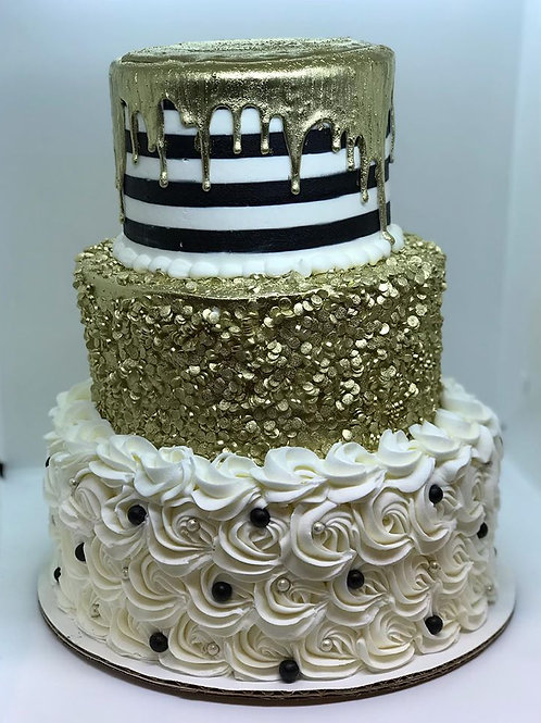 Gold sequin Graduation Cake