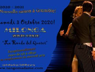 """Samedi 3 Octobre, la """"MILONGA La Ronda del Querer"""" à Grenoble à partir de 20h30."""