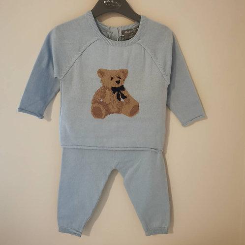 Knitted Baby Blue Teddy Bear 2 piece