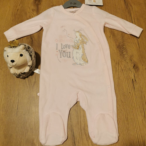 'GHMILY' pink velour sleepsuit