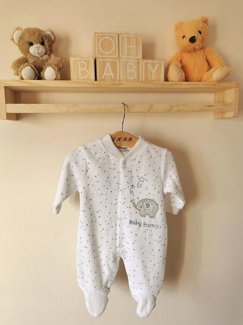 Baby elephant velour sleepsuit