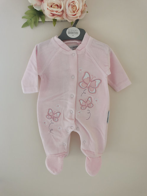 Butterfly velour sleepsuit