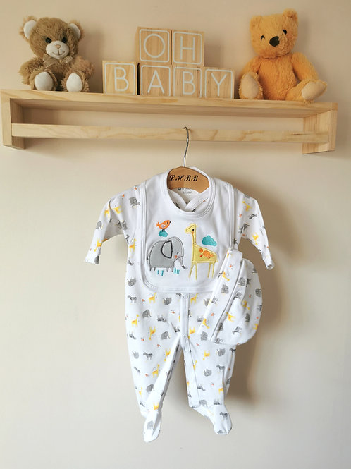 Safari sleepsuit, bib & hat