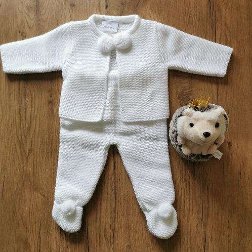 White Pompom knitted 2 piece