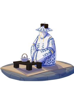 illustration of tea robot