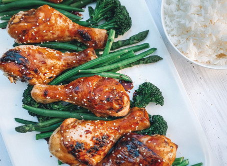 Honey Soy Chicken Drumsticks with Jasmine Rice and Steamed Greens