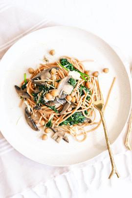 Mushroom, Halloumi and Chickpea Pasta-3.