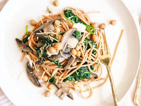 Mushroom, Halloumi and Chickpea Pasta