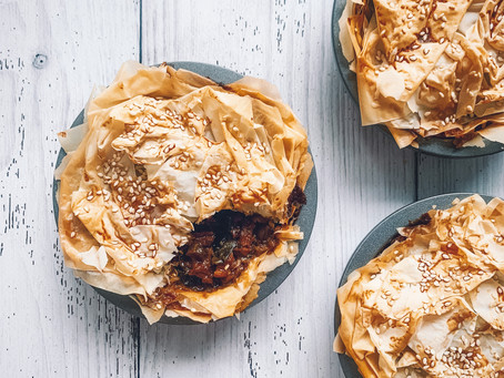 Steak, kale and mushroom filo pastry pies
