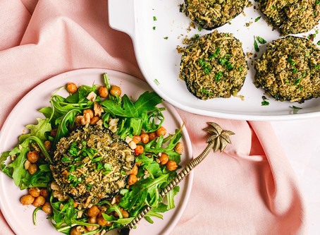 Stuffed mushrooms with a chickpea and walnut salad