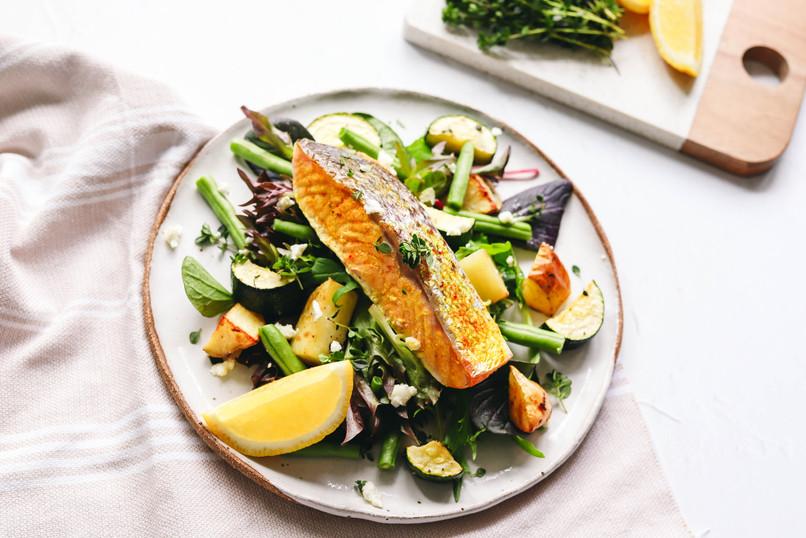 Warm Salmon and Roast Vegetable Salad