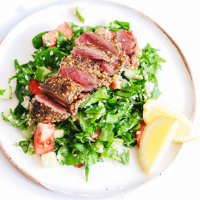 Dukkah Crusted Lamb Backstrap with Cauliflower Tabbouleh