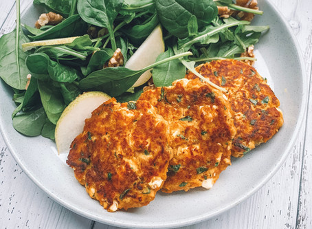 Chickpea Carrot and Feta Fritters with a pear walnut and rocket salad