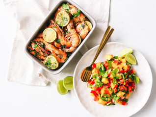 Garlic Roasted Prawns with Mango Salsa
