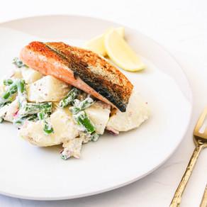 Salmon and Healthy Potato Salad