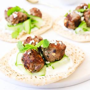 Lamb and Mint Meatball Pita Wraps