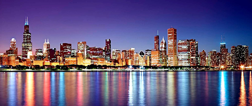 chicago-skyline-sunset-night-reflections