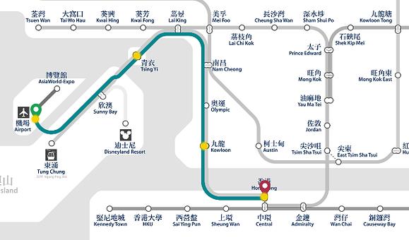 香港機場快線地鐵地圖