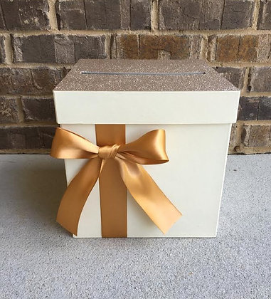 Champagne Gold and Ivory Card Box Centerpiece