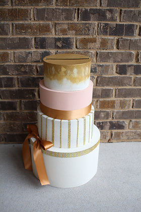 Blush Peach Ivory & Gold 4 tier Card Box