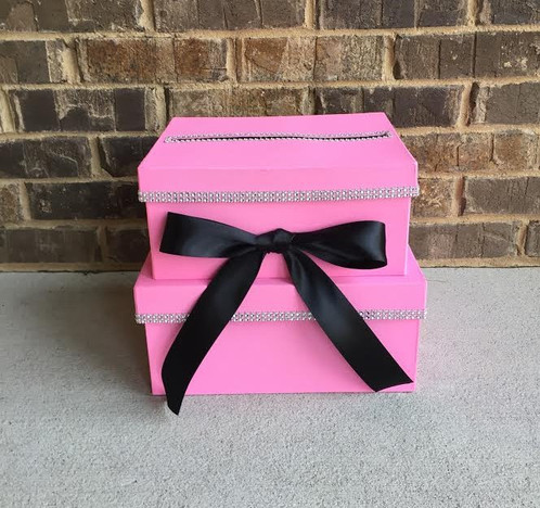 Pink card box 2 tier birthday card holder designed by adaeze collect cards gift cards and money from your guests with this special 2 tier card box great for a girls birthday party sweet 16 party and more bookmarktalkfo Image collections