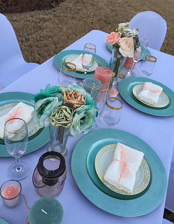 Mint and Coral Tablescape