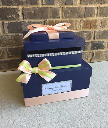 Navy Blue Wedding Card Box, Mint and Coral Shower Card Holder