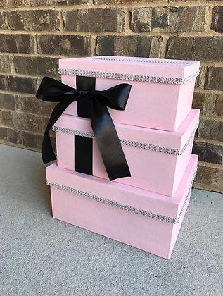 Blush Pink and Black Card Box