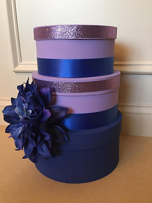 Wedding Card Box, Purple and Blue Centerpiece (Mid-Size), 3 Tier Card Holder