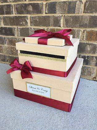 Cranberry Red Wedding Card Box, Wedding Card Holder