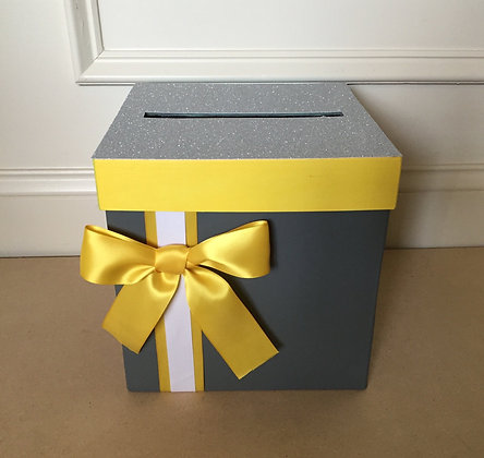 Gray and Yellow Card Box Centerpiece