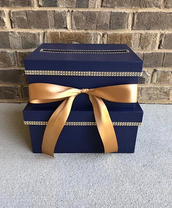 Navy and Gold Card Box
