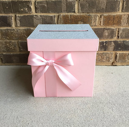 Pink Blush and Silver Card Box Centerpiece