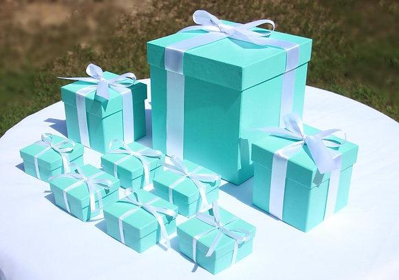 Robin's Egg Blue, Pink Centerpiece & Favor Box Set