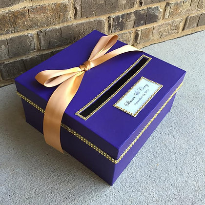Purple and Gold Wedding Card Box