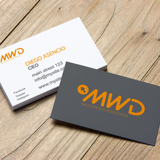 MWD Free Business Cards on Wooden Backgr
