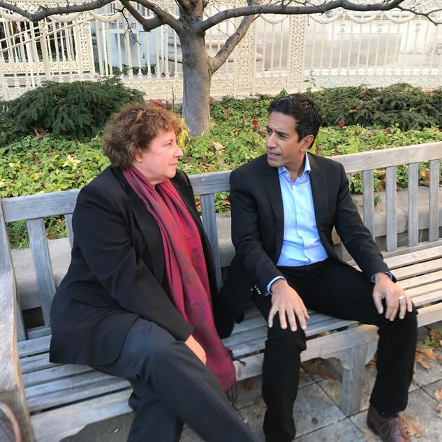 Amy Arnsten and Sanjay Gupta on campus