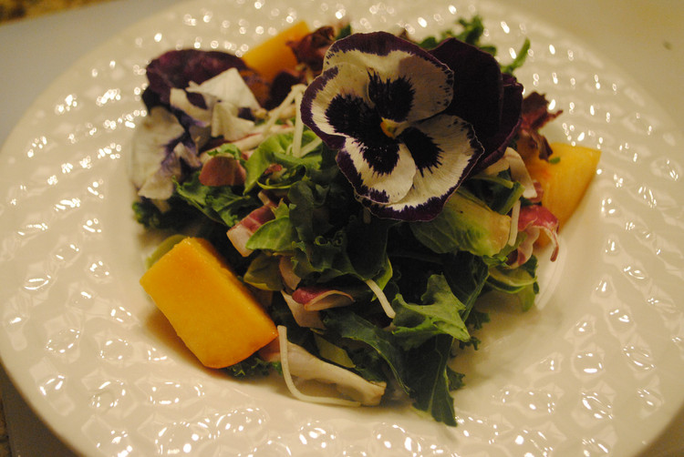 Green Salad with Peaches and Edible Flowers