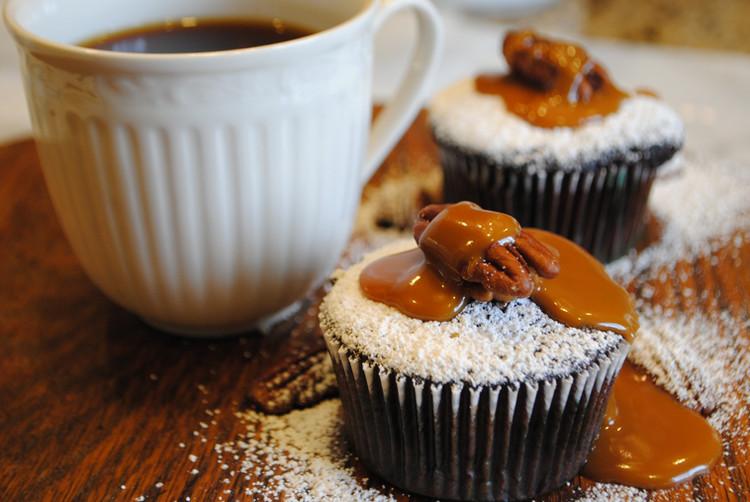 Salted Caramel Chocolate Pecan Cupcakes