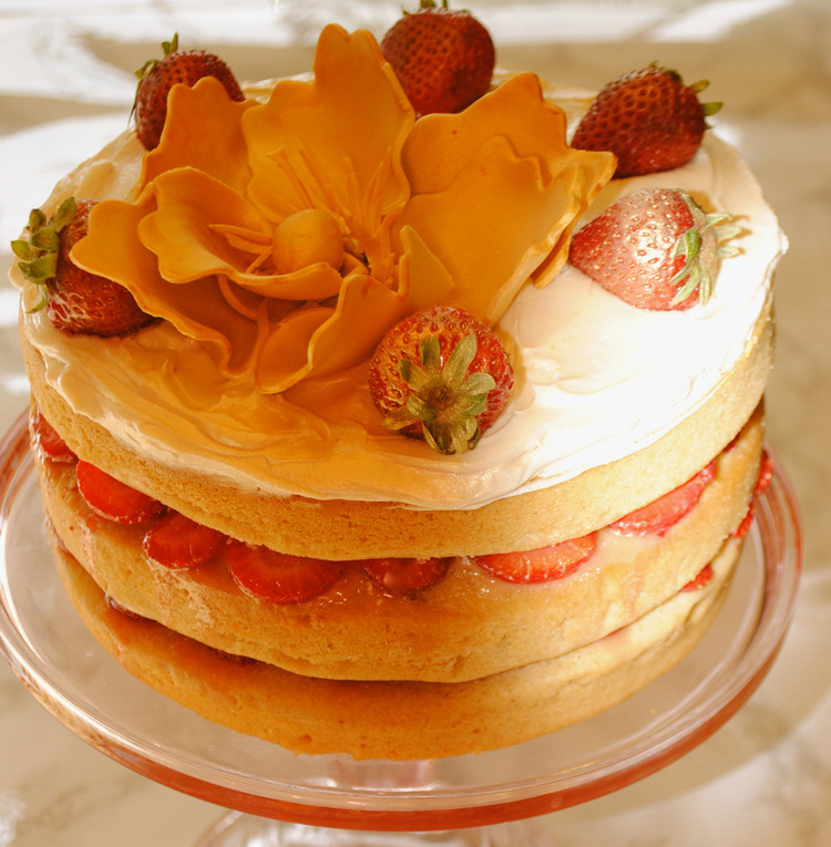 Strawberry Cream Cake with Cardamom Ginger Syrup