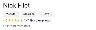 Nick Filet Google Reviews