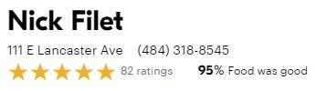 Nick Filet GrubHub Reviews