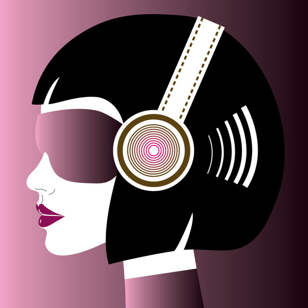 Cabine Girl with headphones and sunglasses