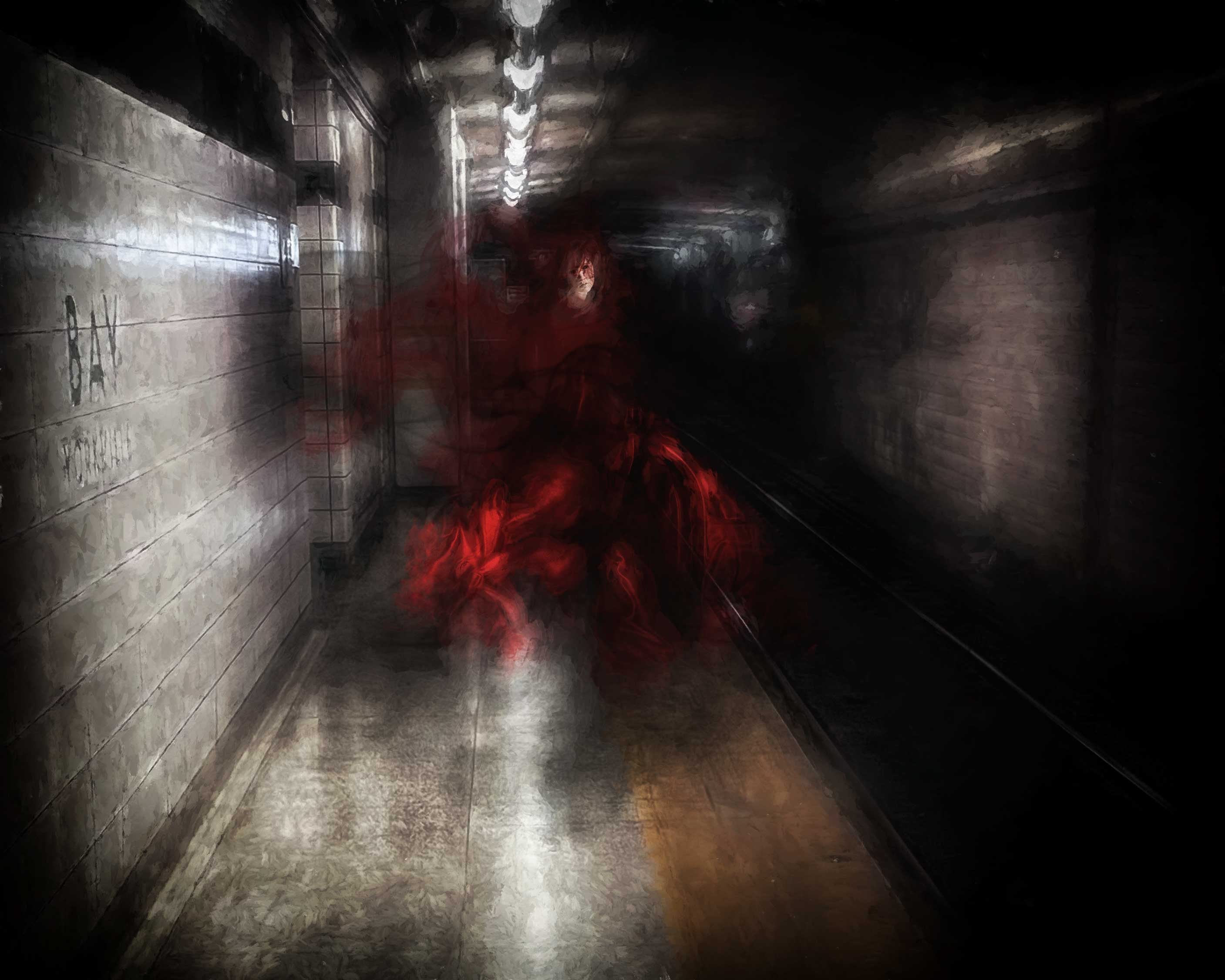 """They-Say... """"Lady in Red"""" of the Lower Bay subway tunnel, Toronto"""