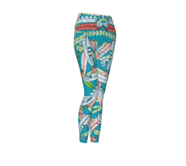 Native Feathers Bright Blue Leggings