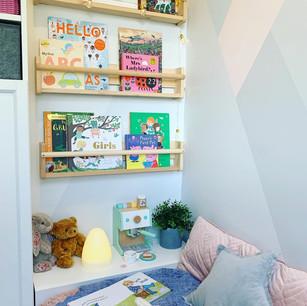 Nursery reading nook design + installation.
