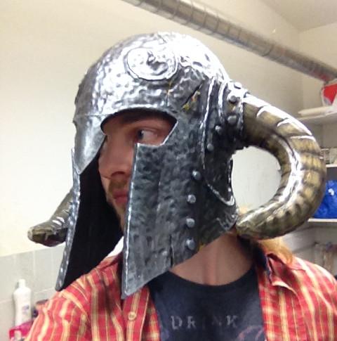Helmet being worn
