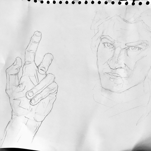 Self portrait and hand